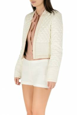 Isabel Marant Cream Jacquard Silk Quilted Structured Jacket S 205989