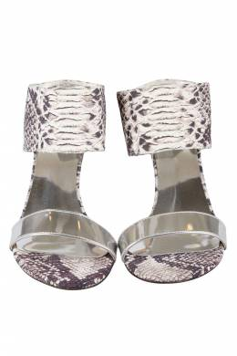 Stuart Weitzman	 Monochrome Python Embossed And Metallic Silver Leather Open Toe Sandals Size 37.5 205311