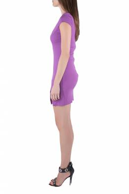 Dsquared2 Purple Jersey Paneled Cap Sleeve Slit Detail Fitted Dress M 203627