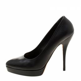 Gucci Black Leather Platform Pumps Size 39.5