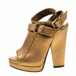Bottega Veneta Metallic Gold Intrecciato Detail Leather Buckle Peep Toe Platform Sandals 38 206430