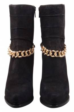 3.1 Phillip Lim Black Suede And Calf Hair Berlin Chain Detail Ankle Boots Size 38.5 205326