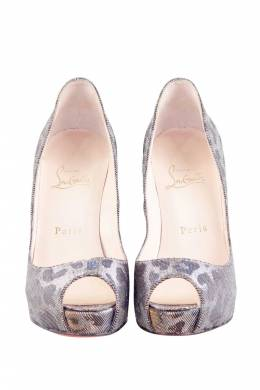 Christian Louboutint Gold/Silver Leopard Glitter Canvas Very Prive Lame Peep Toe Pumps Size 37