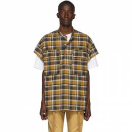Fear Of God Tan Plaid Short Sleeve Flannel Shirt 192782M19200304GB