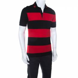 Givenchy Black and Red Striped Cotton Pique Star Appliqué Detail Polo T Shirt S