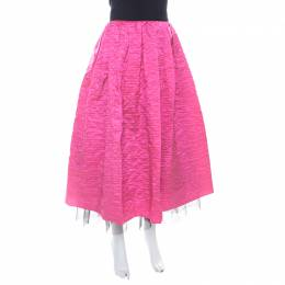 Marc Jacobs Hot Pink Crinkled Silk Tulle Layered Maxi Skirt M 206890