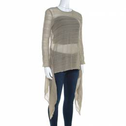 Giorgio Armani Sage Green Sheer Linen Silk Asymmetric Hem Long Sleeve Blouse M 207258