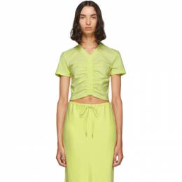 T by Alexander Wang Yellow Cropped Ruched T-Shirt 192214F11002804GB