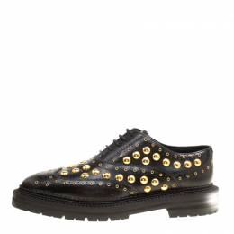 Burberry	 Black Leather Deardown Studded Platform Oxfords Size 40