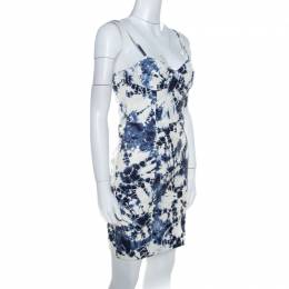 Alexander Wang White and Blue Tie-Dye Leather Sleeveless Bustier Dress XS 205808