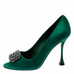 Manolo Blahnik Green Satin Crystal Embellished Peep Toe Pumps Size 38.5 200988