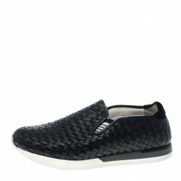 Bottega Veneta	 Black Intrecciato Leather Loafers Size 42 146748
