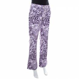 Escada Purple Abstract Print Cotton Flared Trousers M 208016
