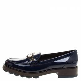 Tod's Blue Patent Leather Whip Stitch Penny Loafers Size 39.5 Tod's
