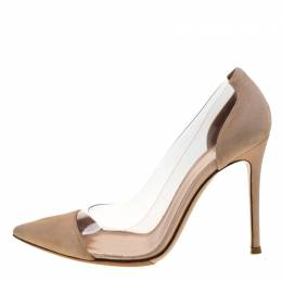 Gianvito Rossi Beige Suede And PVC Plexi Pointed Toe Pumps Size 36