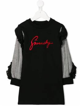 Givenchy Kids - contrast-sleeve logo sweater dress 69595003066000000000