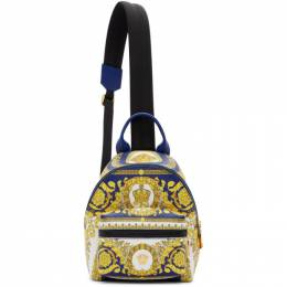 Versace Blue Leather Barocco Backpack 192404M16600501GB
