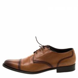 Ermenegildo Zegna	 Brown Leather Lace Up Derby Oxfords 42 209518