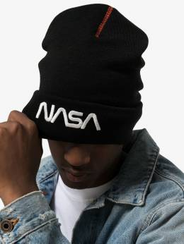 Heron Preston - Black wool knit NASA embroidery hat C663F998556099669959