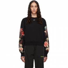 Off-White Black Cropped Flowers Sweatshirt OWBA026E190030661024