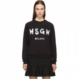 MSGM Black Paint Brushed Logo Sweatshirt 192443F09800104GB