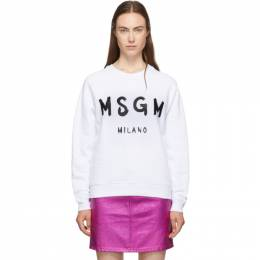 MSGM White Paint Brushed Sweatshirt 192443F09800405GB
