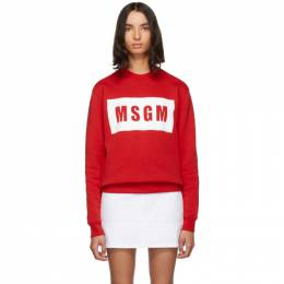 MSGM Red Box Logo Sweatshirt 192443F09800603GB