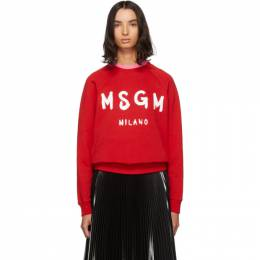 MSGM Red Paint Brushed Logo Sweatshirt 192443F09800201GB