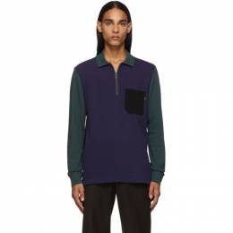 PS by Paul Smith Blue and Green Long Sleeve Polo 192422M21200603GB