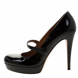 Gucci Black Patent Leather Betty Mary Jane Platform Pumps Size 39.5