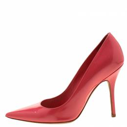 Dior Coral Patent Leather Pointed Toe Pumps Size 36.5