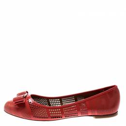 Salvatore Ferragamo	 Coral Perforated Patent Leather Varina Bow Ballet Flats Size 39.5 210347