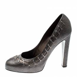 Sergio Rossi Metallic Grey Textured Leather Pumps Size 40