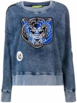 Versace Jeans Couture tiger patch applique washed sweatshirt B6HSA769ALA1F