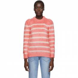 Sjyp Pink and White Stripe Puff Pullover 192644F09600101GB