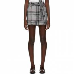 3.1 Phillip Lim Black and White Plaid Belted Shorts P191-5413WBS