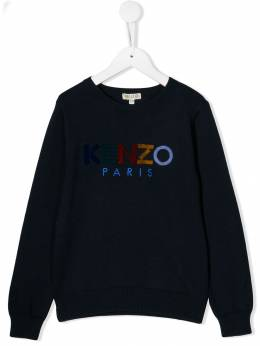 Kenzo Kids - embroidered and flocked logo sweater 85589506663500000000