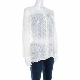 Isabel Marant Off White Embroidered Voile Long Sleeve Shirt M 211238