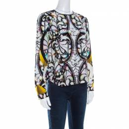 Peter Pilotto Multicolor Paisley Print Silk Long Sleeve Blouse S 211338