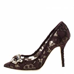 Dolce and Gabbana Purple Wine Lace Crystal Embellished Pointed Toe Pumps Size 37