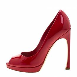Dior Rouge Red Patent Leather Peep Toe Pumps Size 36.5