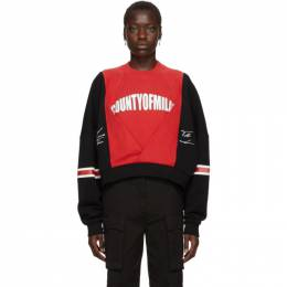 Marcelo Burlon County Of Milan Black and Red Logo Colorblock Sweatshirt 192539F09800704GB