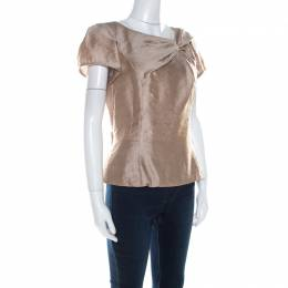 Louis Vuitton	 Beige Wool Bow Detail Short Sleeve Blouse M