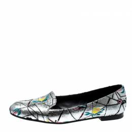 Dior Metallic Silver Floral Brocade Fabric Loafers Size 38.5 211578