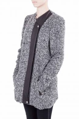 IRO Grey Wool Blend Leather Trim Derby Jacket M
