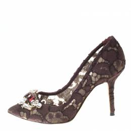 Dolce and Gabbana Brown Lace Embellished Pumps Size 36