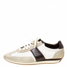 Tom Ford Tricolor Canvas And Suede Oxford Sneakers Size 43 211539