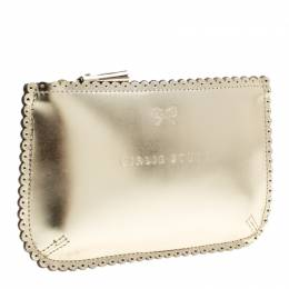 Anya Hindmarch Gold Leather Loose Pocket Girlie Stuff Pouch 137659