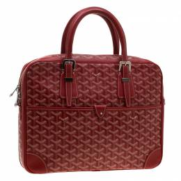 Red Coated Canvas and Leather Trim Diplomat Briefcase Goyard 194405