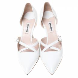 Miu Miu White Leather Pointed Toe Metal Heel D'Orsay Pumps Size 36.5 212332